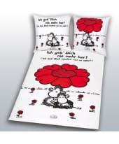 """Bettwäsche Sheepworld """"Rote Blume"""", Linon, Baumwolle Vorderansicht"""