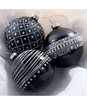 Weihnachtskugel-Set, 3-tlg. Glitter, Glitzerpartikel, Glas, Durchmesser je ca. 8 cm Katalogbild