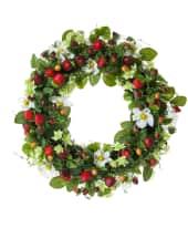 Dekokranz Erdbeeren, Kunststoff/ Rattan, ca. Durchmesser 40 cm Vorderansicht