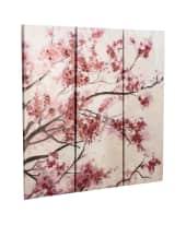 Bilder-Set, 3-tlg. Kirschblüten, Tannenholz, Leinwand, Acryl Vorderansicht
