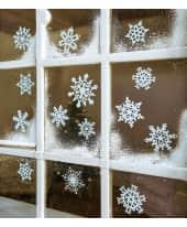 Fensterdeko, 14-tlg. Weiße Schneeflocken, Wiederwerwendbar, zur Dekoration, Kunststofffolie, ca. 12,5 cm Ø (groß), ca. 8 cm Ø (Klein) Katalogbild