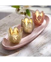 Teelichter-Set auf Tablett, 4-tlg. Blüten, Glas, Holz Katalogbild