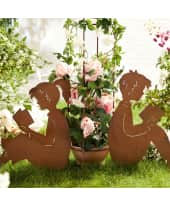 Gartenstecker lesende Kinder, Edelrost Gartendeko, Höhe ca. 60 cm Katalogbild