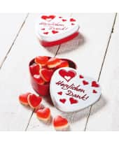 Herz-Dose Herzlichen Dank, 50g Fruchtgummi-Himbeer-Herzen Katalogbild