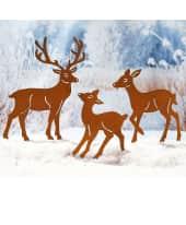 Gartenstecker Hirschfamilie, 3-tlg, im Rostfinish, zum Stecken Katalogbild