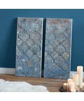 Bilder-Set, 2-tlg. Blue Ornaments, handgemalt, je ca. B40x H90cm Katalogbild