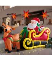 Weihnachtsmann im Schlitten, aufblasbar, mit 3 LED's Katalogbild