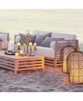 Outdoor-Sofa 2-Sitzer, lackiert, inkl. Sitz- und Rückenkissen, modern, Massivholz Katalogbild