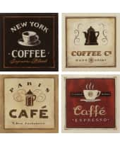 "Bilder ""Kaffee I-IV"", 17x17cm, 4er-Set Vorderansicht"