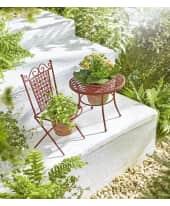 Pflanztopfset Gartenmöbel, 2er Set Tisch und Stuhl, Vintage-Look, Metall/Zement Katalogbild