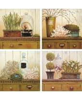 """Bild """"Vintage Garden"""", 17x17 cm, 4er-Set Vorderansicht"""