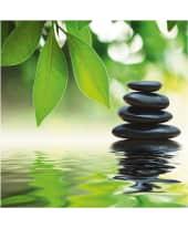 """Bild """"Zen stones pyramid on water surface"""" Vorderansicht"""