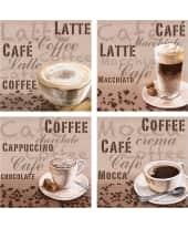 "Bilder Set ""Latte, Cafe, Chocolate, Mocca"", 4-tlg. Vorderansicht"