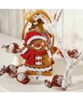 Filzbeutel Lebkuchenmännchen, 50g Schoko-Kugeln mit Mousse au Chocolat-Füllung Katalogbild