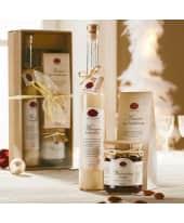 Süßes-Geschenk-Set, Trüffel-Sahnelikör, Weihnachtsmarmelade, gerösteten Mandeln mit Vanillenote Katalogbild