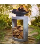Feuerschale Jaffa, mit Ablagefach für Holz, modern, Metall und Fiberglas-Ton-Mix, ca. B45 x T40 x H56 cm Katalogbild