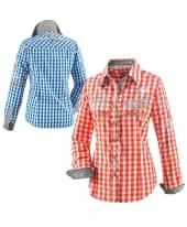 Bluse Carol, kontrastfarbige Manschette und Kragenrückseite Vorderansicht