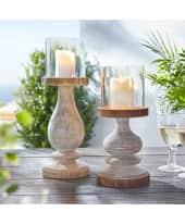 Kerzenhalter Woody, Handgefertigt, rustikal, Holz/Glas, Glaszylinder: ca. Ø10 x H10 cm Katalogbild