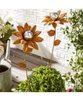 Gartenstecker Sonnenblume, Rost-Optik, Metall, mit Edelstahl-Kugel, ca. 91 cm hoch, Blüten-Durchmesser ca. 18 cm Katalogbild