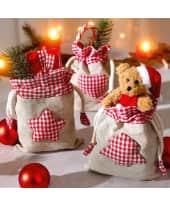 Weihnachtsbeutel, 3-tlg., 75% Leinen, 20% Baumwolle, 5% Polyester, L 13 x H 17.2 cm Katalogbild