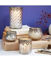 Teelichthalter Silber B, Glas, Durchmesser ca. 8 x H ca. 9 cm Katalogbild