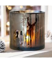 Windlicht Hirschfamilie, Glas Katalogbild