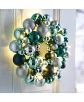 LED-Kugelkranz smaragd/silber, modern, Kunststoff, ca. D33 cm Katalogbild