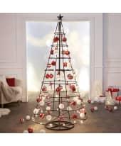 Weihnachtskugel-Set, 39 tlg. rot/weiß, klassisch, Kunststoff, ca. D8 cm je Kugel Katalogbild