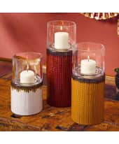 Windlicht Savanna, Keramik, Glas, rot: ca. H29 cm, gelb: ca. H24 cm, weiß: ca. H19 cm Katalogbild