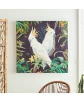 Bild Kakadu, mit Krakelee-Optik, Acrylfarbe auf Leinwand, ca. 80 x 80 cm Katalogbild