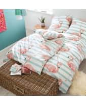 Bettwäsche Happy Flamingo, mit Reißverschluss, Baumwolle Satin Katalogbild