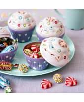 Cupcake-Dose mit süßer Füllung, ca. 55g Regenbogen Bolitos und Kirsch-Joghurt Herzen Katalogbild