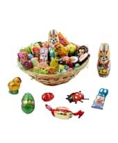 Osterkörbchen-Set, 40-tlg., Ostersüßware, Schokolade, Fruchtgummi, Dragee-Eier, Oster-Gelee, Marzipan Vorderansicht