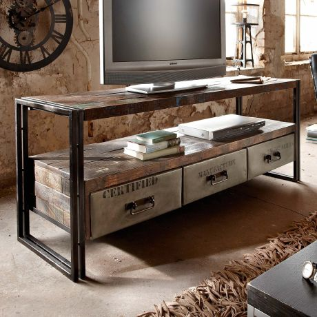 Sideboard Delhi Industrial Look Gebeiztem Holz Metall
