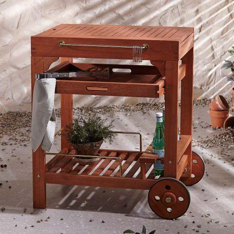 Outdoor Servierwagen Tindra Outdoorgeeignet Eukalyptus