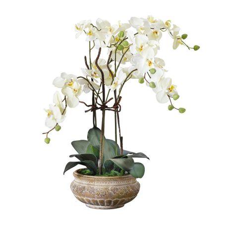 Kunstpflanze Orchideentopf Mit Ubertopf Kunststoff Keramik Ca