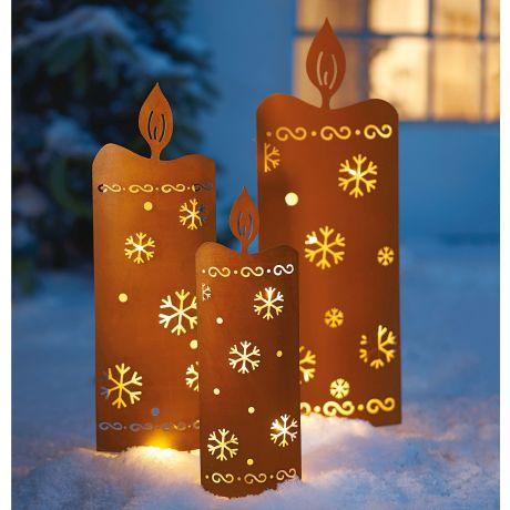 Weihnachtsbeleuchtung Zum Stecken.Led Gartenstecker 3 Tlg Kerzen Im Rostfinish Zum Stecken Incl Lichterkette