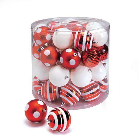 Weihnachtskugel Set 39 Tlg Rot Weiss Klassisch Kunststoff Ca D8