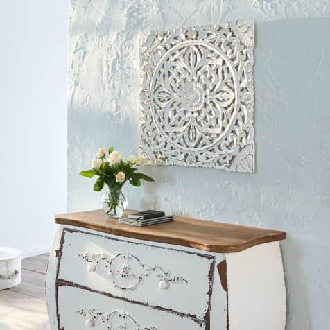 Wand Deko Holz Ornamentik 60x60 Cm Geschnitzt Shabby Chic Mdf
