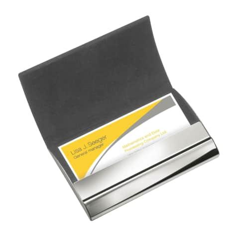 Visitenkartenbox Elversum Für 15 Visitenkarten Kunstleder Und Metall