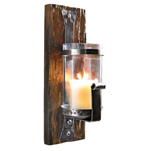 """Wand-Kerzenhalter """"Wood"""", Eisen, Holz, Glas Vorderansicht"""