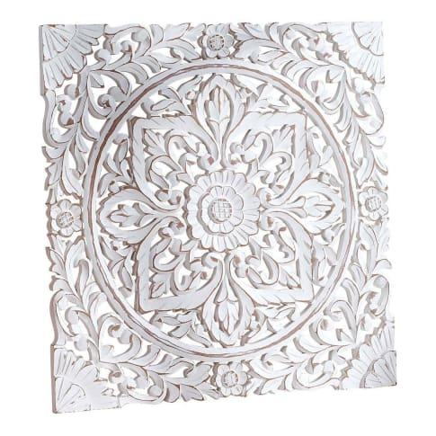 Wand-Deko Holz Ornamentik, 60x60 cm, geschnitzt, Shabby Chic, MDF Vorderansicht