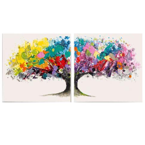 Bilder-Set, 2-tlg. Magic Tree, handgemalt, Leinwand, Holz, Acrylfarbe, ca. B160x H80cm Vorderansicht