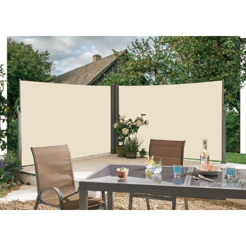 seitenmarkise doppelt sichtschutz zum ausziehen aluminium 100 polyester markise 2x l300. Black Bedroom Furniture Sets. Home Design Ideas