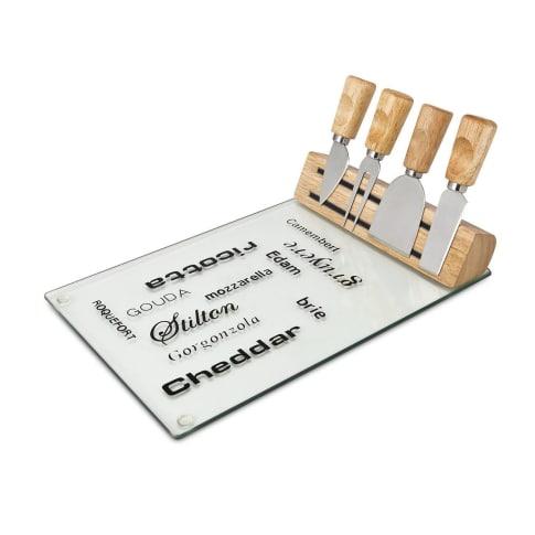 Käse-Set Vetro, Glas, Holz, Edelstahl Vorderansicht