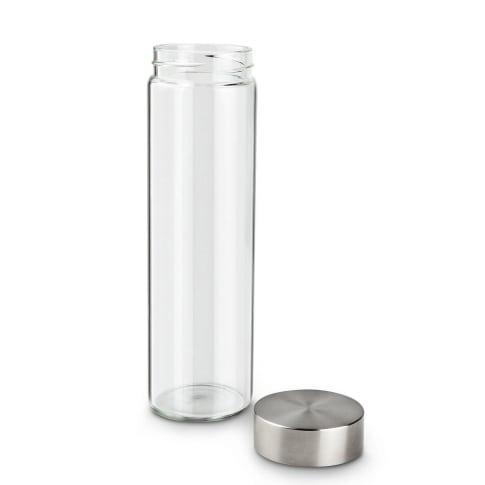 Glasflasche Fiola, 0,5 Liter, Glas/Edelstahl Vorderansicht