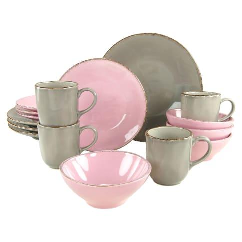 Geschirr-Set, 16-tlg. Organic Rose, spülmaschinen- und mikrowellengeeignet, Steingut Vorderansicht