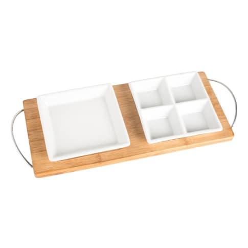 Bambustablett mit 2 Schalen Getxo, Servierplatte Vorderansicht