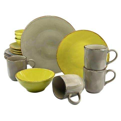 Geschirr-Set, 16-tlg. Organic, spülmaschinen- und mikrowellengeeignet, Steingut Vorderansicht