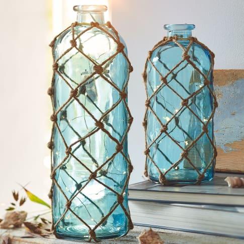 Deko-Flasche mit LED- Lichterkette Net, Maritimer Look, Glas, Jute, LED Katalogbild